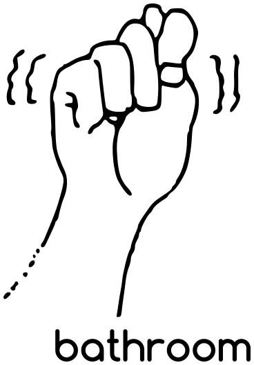 Asl Bathroom Sign Language Asl Words Asl Bathroom Png Html