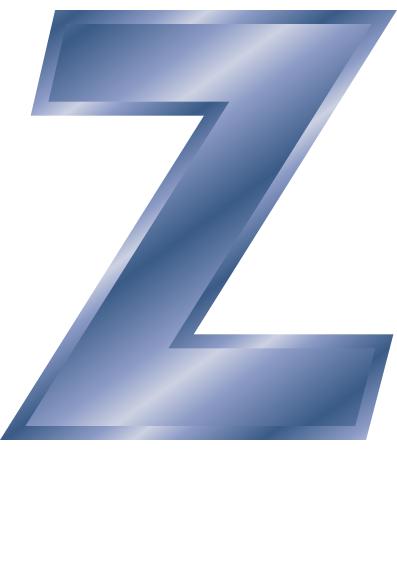Blue Steel Letter Capitol Z Signs Symbol Alphabets