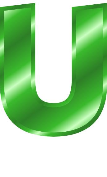 green metal letter capitol u  signs symbol  alphabets