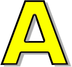 capitol A yellow - /signs_symbol/alphabets_numbers
