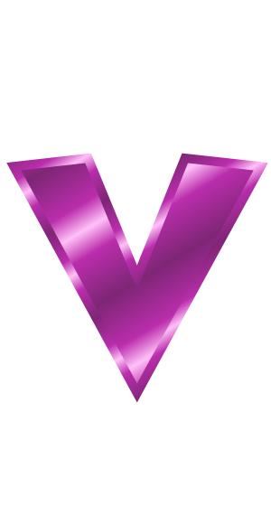 purple metal letter v  signs symbol  alphabets numbers