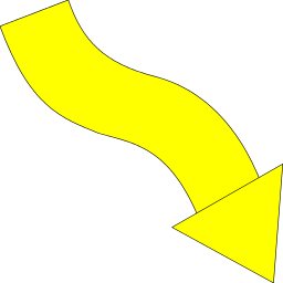 arrow wavy down right yellow - /signs_symbol/arrows/angled ...
