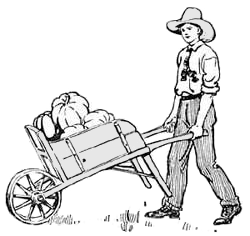 boy pushing wheelbarro...