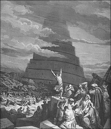 CONFUSION OF TONGUES DESTRUCTION OF TOWER OF BABEL - public domain ...