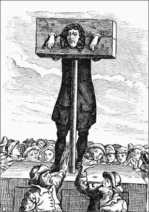 PILLORY STOCKS - public domain clip art image